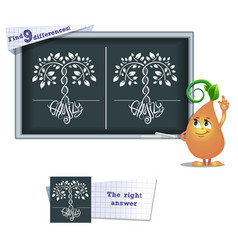 Game find 9 differences family tree vector