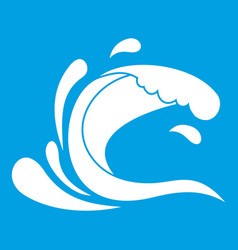 Water wave splash icon white vector