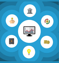 Flat icon incoming set of money box interchange vector
