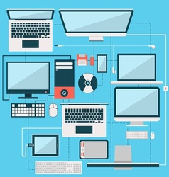 Computer laptop and another gadget flat design col vector image