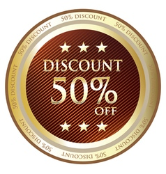 Fifty percent discount gold label vector