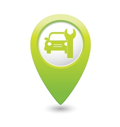 Car service icon on green map pointer vector