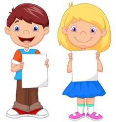 Little kids holding blank paper vector