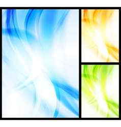 Set of bright wavy backgrounds vector