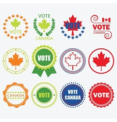 Vote canada emblems and design elements set vector