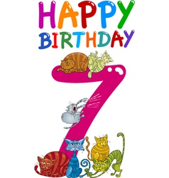 Seventh birthday anniversary card vector