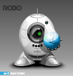 Silver robo eyeborg projecting the planet earth in vector image