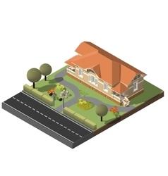 American cottage stone villa vector