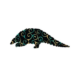 Armadillo mammal color silhouette animal vector