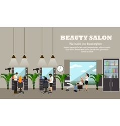 Beauty salon interior concept banners hair vector