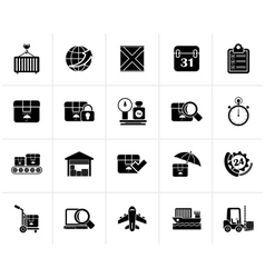 Black logistic and shipping icons vector