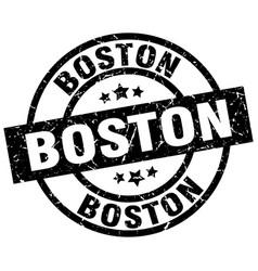 Boston black round grunge stamp vector