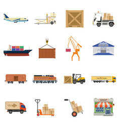 cargo transport and logistics icon set vector image vector image
