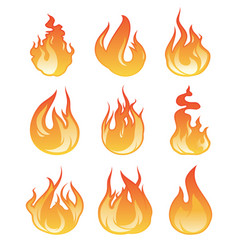 cartoon flame set of fire vector image