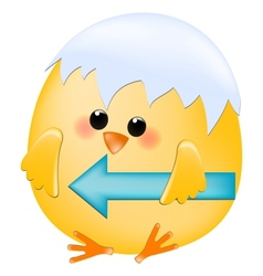 Chick with left arrow vector image