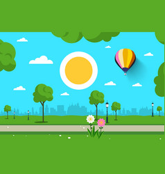 empty park nature scene city sun and hot air vector image vector image