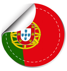 flag of portugal in round shape vector image
