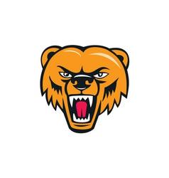 Grizzly bear angry head cartoon vector