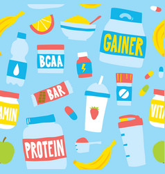 Hand drawn style sport food nutrition seamless vector