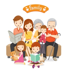 Happy Family Sitting on Sofa and Floor vector image vector image