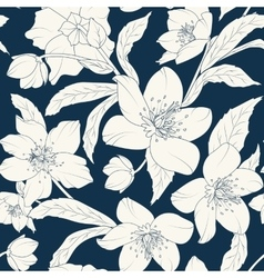 Hellebore floral foliage pattern white indigo blue vector image vector image
