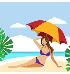 Hot brunette girl on a beach under umbrella vector