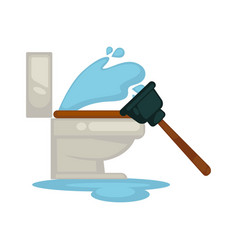 House plumbing toilet leakage or clogging plumber vector