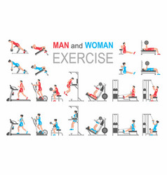 Man and woman exercise vector