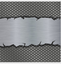 Perforated background with metal brushed plate vector