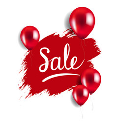 red blot with balloons sale poster vector image vector image