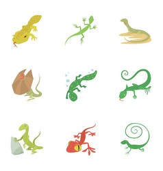 reptile icons set cartoon style vector image vector image