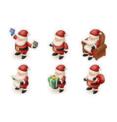 Santa claus isometric 3d read gift list sit vector