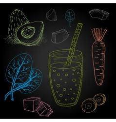 Set hand-drawn food ingredients on chalkboard vector image vector image