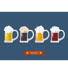 Set of glasses of light and dark beer vector