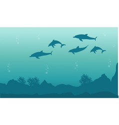 Silhouette of dolphin beauty landscape vector
