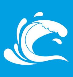 Water wave splash icon white vector