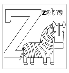 Zebra letter Z coloring page vector image vector image
