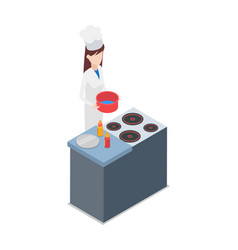 Restaurant female cook holding pot with water vector