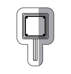 Sticker silhouette square shape traffic sign with vector