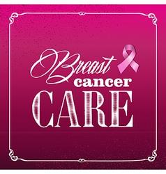 Breast cancer awareness ribbon vintage frame vector image