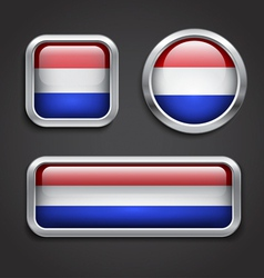 Holland flag glass buttons vector