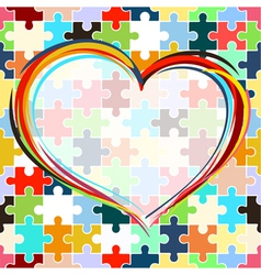 heart on seamless puzzle background vector image