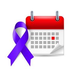 Indigo awareness ribbon and calendar vector image