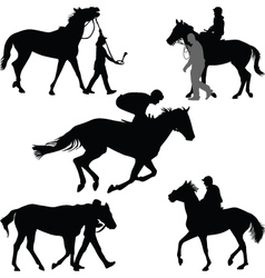 Jockey and horse vector