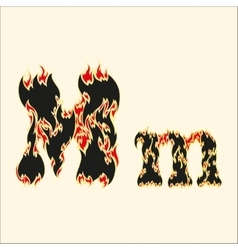 Fiery font letter m on white vector