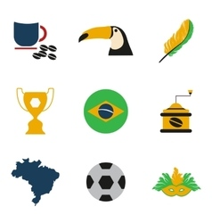 Set of flat icons on white background brazil vector