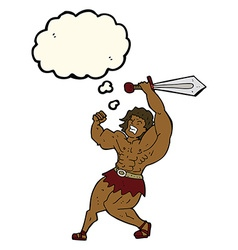 Cartoon barbarian hero with thought bubble vector