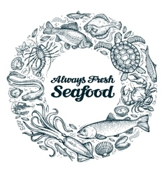 Seafood restaurant menu or cafe design template vector