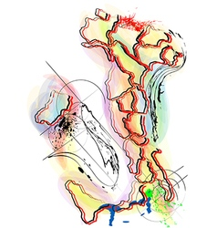 Abstract multicolor map of italy vector
