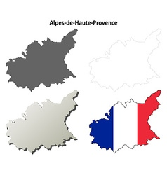 Alpes-de-haute-provence provence outline map set vector